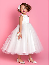 cheap -A-Line / Princess Tea Length Flower Girl Dress - Satin / Tulle Sleeveless Jewel Neck with Beading / Appliques / Spring / Summer / Fall / Winter / First Communion