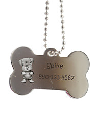 cheap -Personalized Gift Bone Shape Silver Pet Id Name Tag with Chain  for Dogs