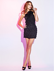 cheap -Sheath / Column Little Black Dress Floral Holiday Cocktail Party Dress One Shoulder Sleeveless Short / Mini Chiffon with Crystals Beading Ruffles 2021