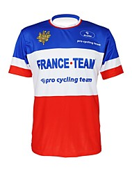 cheap -Malciklo Men's Women's Short Sleeve Cycling Jersey Blue+Red France Champion National Flag Bike Jersey Top Mountain Bike MTB Road Bike Cycling Breathable Quick Dry Ultraviolet Resistant Sports 100