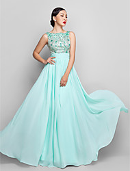 cheap -A-Line Scoop Neck Floor Length Chiffon Pastel Colors / Beaded & Sequin Holiday / Cocktail Party / Prom Dress with Bow(s) / Ruched / Beading 2020 / Formal Evening