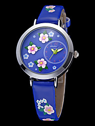 cheap -Women's Japanese Quartz Blue Flower