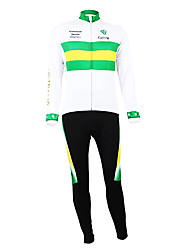 cheap -Malciklo Men's Long Sleeve Cycling Jersey with Tights White / Green Australia Champion National Flag Bike Clothing Suit Mountain Bike MTB Road Bike Cycling Thermal / Warm Fleece Lining Breathable