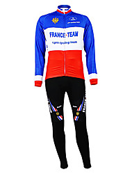 cheap -Malciklo Men's Long Sleeve Cycling Jersey with Bib Tights Blue+Red France Champion National Flag Bike Clothing Suit Mountain Bike MTB Road Bike Cycling Thermal / Warm Fleece Lining Breathable Sports