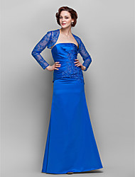 cheap -Sheath / Column Mother of the Bride Dress Wrap Included Strapless Floor Length Lace Satin Long Sleeve with Beading Appliques Side Draping 2021