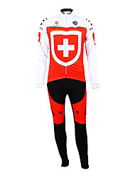 cheap -Malciklo Men's Long Sleeve Cycling Jersey with Bib Tights Switzerland Champion National Flag Bike Clothing Suit Thermal / Warm Fleece Lining Breathable Winter Sports Polyester Fleece Switzerland