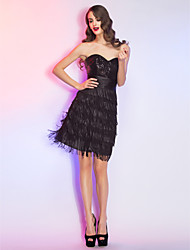 cheap -Cocktail Party / Homecoming / Holiday Dress - Black Plus Sizes / Petite A-line Sweetheart Short/Mini Lace / Sequined