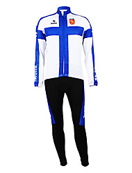 cheap -Malciklo Men's Long Sleeve Cycling Jersey with Tights Blue / White Finland Champion National Flag Bike Clothing Suit Mountain Bike MTB Road Bike Cycling Thermal / Warm Fleece Lining Breathable Sports