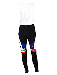 cheap -Malciklo Men's Cycling Bib Tights Winter Fleece Polyester Black Italy Champion National Flag Bike Tights Bottoms Mountain Bike MTB Road Bike Cycling Thermal / Warm Fleece Lining Breathable Sports