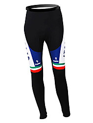 cheap -Malciklo Men's Cycling Tights Black Italy Champion National Flag Bike Tights Bottoms Mountain Bike MTB Road Bike Cycling Thermal / Warm Fleece Lining Breathable Sports Winter Polyester Fleece