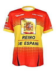 cheap -Malciklo Men's Women's Short Sleeve Cycling Jersey Red / Yellow Spain Champion National Flag Bike Tee / T-shirt Jersey Top Mountain Bike MTB Road Bike Cycling Breathable Quick Dry Ultraviolet