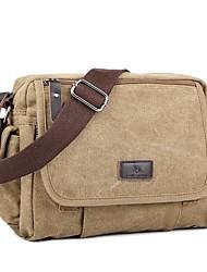 cheap -Unisex Bags Canvas Shoulder Messenger Bag Zipper Canvas Bag Daily Black Khaki Coffee