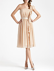 cheap -Sheath / Column One Shoulder Knee Length Chiffon Bridesmaid Dress with Draping / Sash / Ribbon / Ruffles