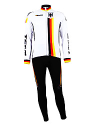 cheap -Malciklo Men's Long Sleeve Cycling Jersey with Bib Tights Germany Champion National Flag Bike Clothing Suit Mountain Bike MTB Road Bike Cycling Thermal / Warm Fleece Lining Breathable Sports Winter