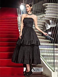 cheap -A-Line Strapless Tea Length Taffeta Little Black Dress / Elegant / Minimalist Prom / Formal Evening Dress with Pleats 2020
