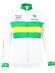 cheap -Malciklo Men's Long Sleeve Cycling Jersey White / Green Australia Champion National Flag Bike Jersey Top Mountain Bike MTB Road Bike Cycling Thermal / Warm Fleece Lining Breathable Sports Winter