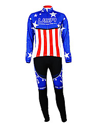 cheap -Malciklo Men's Long Sleeve Cycling Jersey with Tights Blue+Red American / USA Champion National Flag Bike Clothing Suit Mountain Bike MTB Road Bike Cycling Thermal / Warm Fleece Lining Breathable