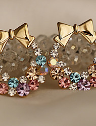 cheap -Lucky Doll Women's All Match Cubic Zirconia Gemstone & Crystal Bow Earring