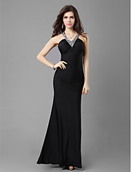cheap -Formal Evening / Wedding Party / Military Ball Dress - Black Petite Sheath/Column V-neck Ankle-length Jersey