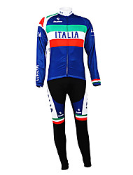 cheap -Malciklo Men's Long Sleeve Cycling Jersey with Bib Tights Italy Champion National Flag Bike Clothing Suit Thermal / Warm Fleece Lining Breathable Winter Sports Polyester Fleece Italy Mountain Bike
