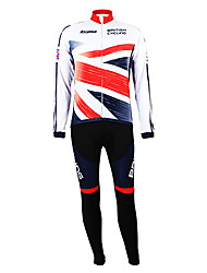 cheap -Malciklo Men's Long Sleeve Cycling Jersey with Bib Tights British Champion National Flag Bike Clothing Suit Thermal / Warm Fleece Lining Breathable Winter Sports Polyester Fleece British Mountain