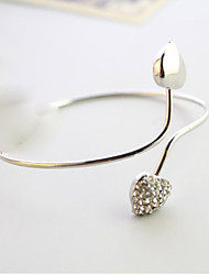 cheap -Cuff Bracelet Heart Love Luxury Party Simple Style Cute Open Rhinestone Bracelet Jewelry Silver For Party / Imitation Diamond