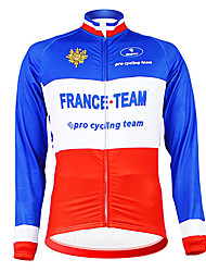 cheap -Malciklo Men's Long Sleeve Cycling Jersey Blue+Red France Champion National Flag Bike Jersey Top Mountain Bike MTB Road Bike Cycling Thermal / Warm Fleece Lining Breathable Sports Winter Polyester