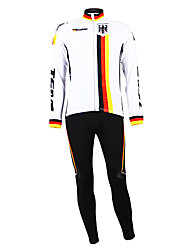 cheap -Malciklo Men's Long Sleeve Cycling Jersey with Tights Germany Champion National Flag Bike Clothing Suit Mountain Bike MTB Road Bike Cycling Thermal / Warm Fleece Lining Breathable Sports Winter