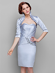 cheap -Sheath / Column Mother of the Bride Dress Wrap Included Sweetheart Neckline Knee Length Satin Half Sleeve with Criss Cross Ruched Beading 2021