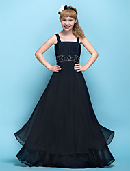 cheap -A-Line Straps Floor Length Chiffon Junior Bridesmaid Dress with Beading / Appliques / Criss Cross / Empire