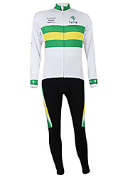 cheap -Malciklo Men's Women's Long Sleeve Cycling Jersey with Tights Winter Elastane Polyester White / Green Australia Champion National Flag Bike Clothing Suit Mountain Bike MTB Road Bike Cycling Windproof