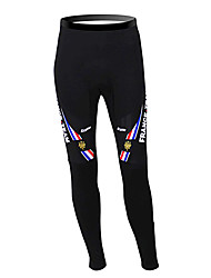 cheap -Malciklo Men's Cycling Tights Black France Champion National Flag Bike Pants / Trousers Tights Thermal / Warm Fleece Lining Breathable Winter Sports Polyester Fleece France Mountain Bike MTB Road