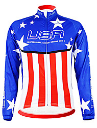 cheap -Malciklo Men's Long Sleeve Cycling Jersey American / USA Champion National Flag Bike Jersey Top Mountain Bike MTB Road Bike Cycling Thermal / Warm Fleece Lining Breathable Sports Winter Polyester