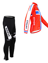 cheap -Malciklo Men's Long Sleeve Cycling Jersey with Tights Norway Champion National Flag Bike Clothing Suit Thermal / Warm Fleece Lining Breathable Winter Sports Polyester Fleece Norway Mountain Bike MTB