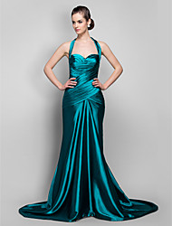 cheap -Mermaid / Trumpet Halter Neck Sweep / Brush Train Stretch Satin Vintage Inspired Formal Evening / Military Ball Dress with Criss Cross / Ruched 2020