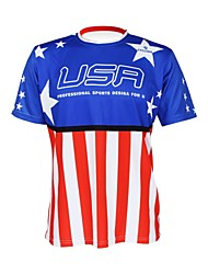 cheap -Malciklo Men's Women's Short Sleeve Cycling Jersey American / USA Champion National Flag Bike Tee / T-shirt Jersey Top Mountain Bike MTB Road Bike Cycling Breathable Quick Dry Ultraviolet Resistant
