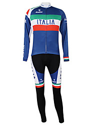 cheap -Malciklo Men's Women's Long Sleeve Cycling Jersey with Bib Tights Winter Fleece Polyester Elastane Italy Champion National Flag Bike Clothing Suit Mountain Bike MTB Road Bike Cycling Windproof Quick
