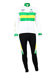 cheap -Malciklo Men's Long Sleeve Cycling Jersey with Bib Tights White / Green Australia Champion National Flag Bike Clothing Suit Mountain Bike MTB Road Bike Cycling Thermal / Warm Fleece Lining Breathable