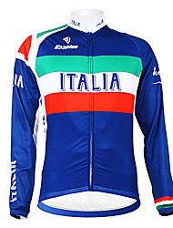 cheap -Malciklo Men's Long Sleeve Cycling Jersey Italy Champion National Flag Bike Jersey Top Mountain Bike MTB Road Bike Cycling Thermal / Warm Fleece Lining Breathable Sports Winter Polyester Fleece