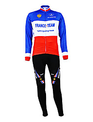 cheap -Malciklo Men's Long Sleeve Cycling Jersey with Tights Blue+Red France Champion National Flag Bike Clothing Suit Mountain Bike MTB Road Bike Cycling Thermal / Warm Fleece Lining Breathable Sports