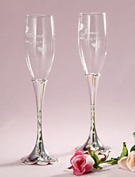 cheap -Lead-free Glass Toasting Flutes Gift Box Floral Theme Spring