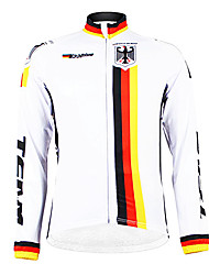 cheap -Malciklo Men's Long Sleeve Cycling Jersey White Germany Champion National Flag Bike Jersey Top Mountain Bike MTB Road Bike Cycling Thermal / Warm Fleece Lining Breathable Sports Winter Polyester