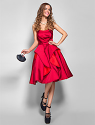 cheap -A-Line Holiday Homecoming Cocktail Party Dress Strapless Sleeveless Knee Length Satin with 2021