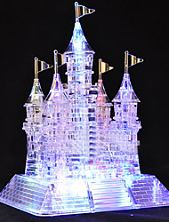 cheap -Model Building Kit 3D Crystal Jigsaw Puzzle Crystal Glow Glitter Shine Architecture Castle Plastic 105 pcs Kid's Adults' Girls' Toy Gift / Music & Light