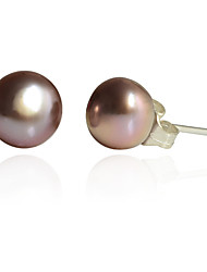 cheap -Women's Tahitian pearl Stud Earrings Pearl Silver Plated Earrings Jewelry White / Purple / Pink For Party Daily Casual