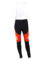 cheap -Malciklo Men's Cycling Bib Tights Black / Orange Spain Champion National Flag Bike Tights Bottoms Mountain Bike MTB Road Bike Cycling Thermal / Warm Fleece Lining Breathable Sports Winter Polyester