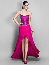 cheap -Sheath / Column Sparkle & Shine Open Back High Low Holiday Cocktail Party Prom Dress Sweetheart Neckline Sleeveless Asymmetrical Chiffon Sequined with Beading 2021