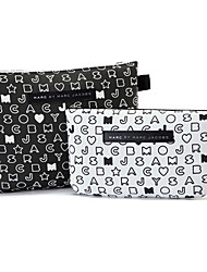 cheap -2pcs black white letter pattern briefcase shaped thicken make up cosmetics bag set cosmetics storage