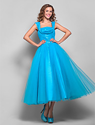 cheap -Ball Gown Square Neck Tea Length Tulle Elegant Homecoming / Prom Dress with Draping / Ruched 2020