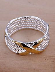 Недорогие -Жен. Кольцо Заявление Золотой Серебрянное покрытие Круглый Геометрической формы Дамы европейский Для вечеринок Повседневные Бижутерия X кольцо